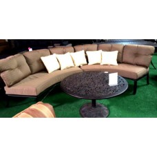 Patio Sofa 3pc Deep Seating Circular Elisabeth outdoor Aluminum Bonze